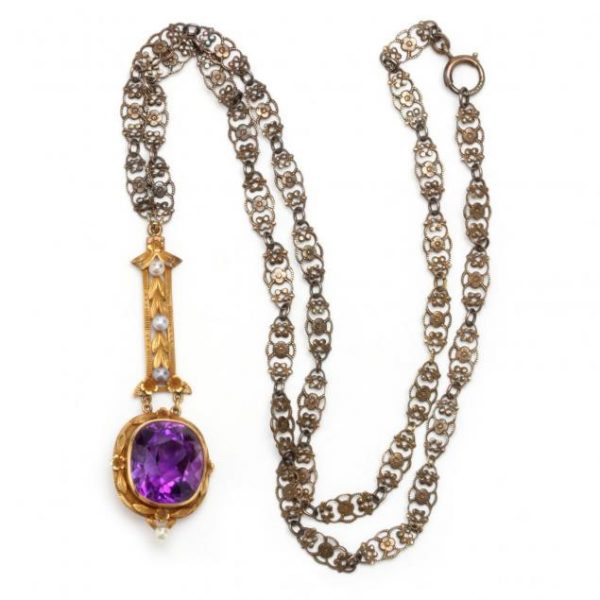 Amethyst and Seed Pearl Lavalier