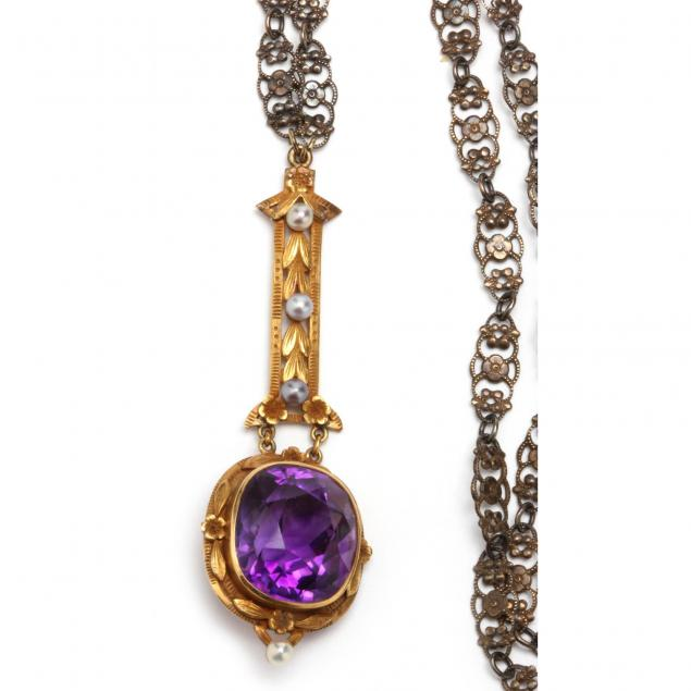 Amethyst and Seed Pearl Lavaliere