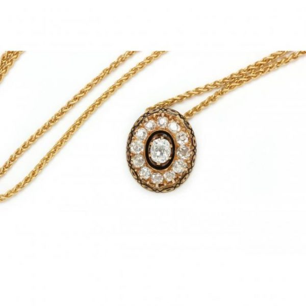 Diamond and Enamel Necklace