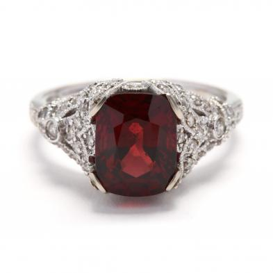 Red Spinel Diamond Ring