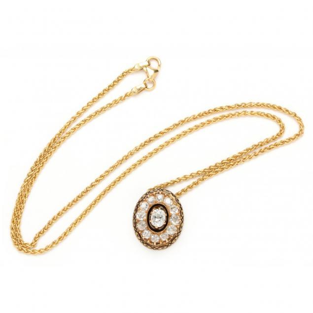 Diamond and Enamel Necklace