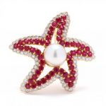 Starfish ruby brooch