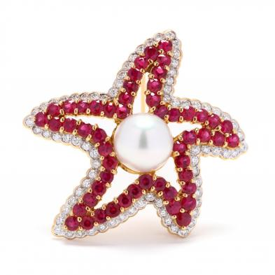 Starfish ruby brooch
