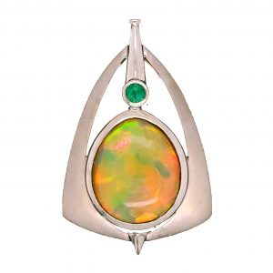 Opal and emerald pendant