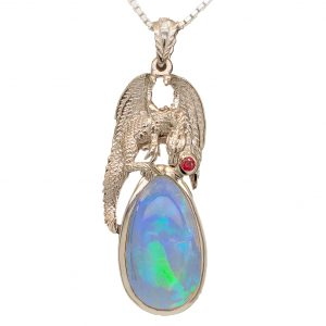 Opal and Ruby Dragon Pendant