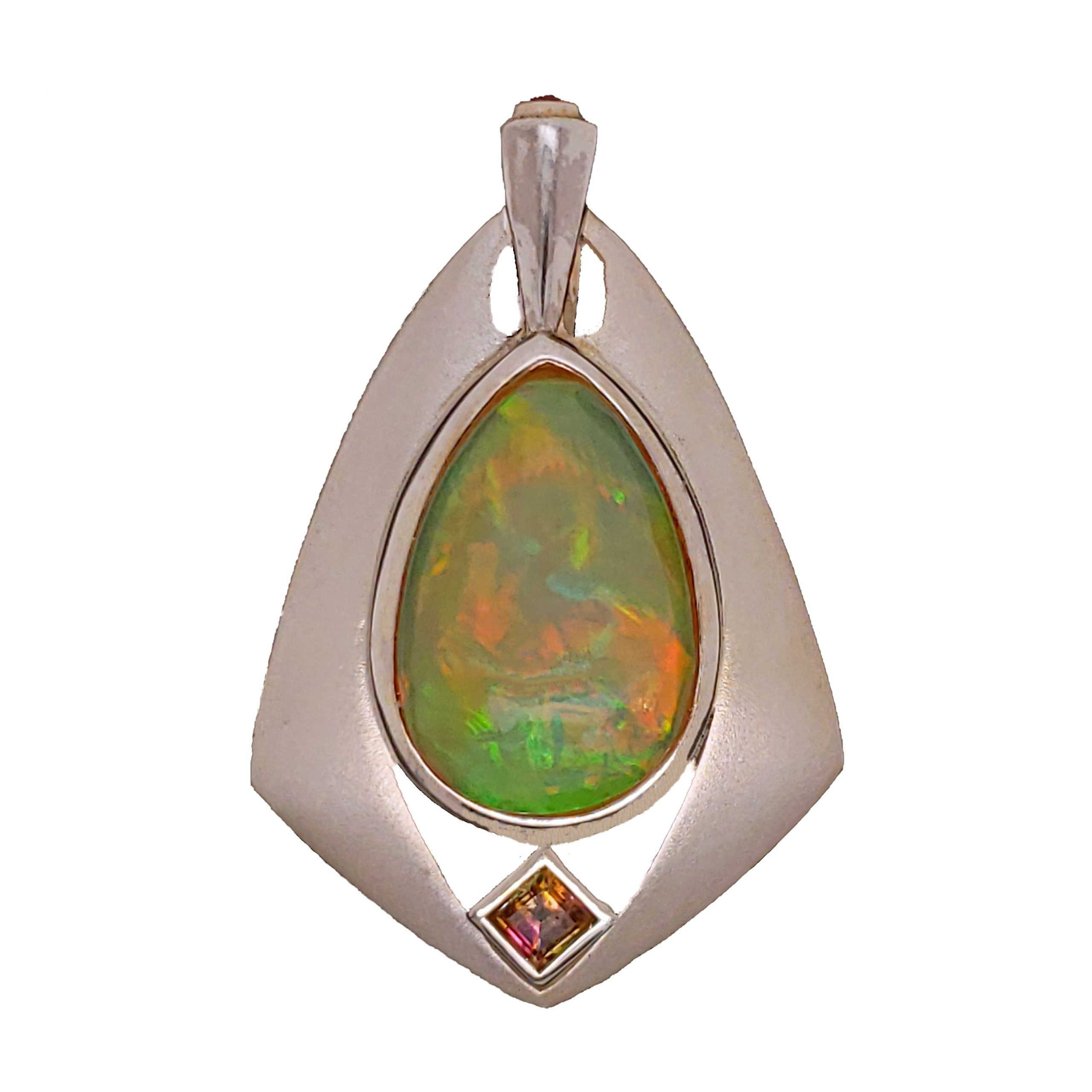 Opal, tourmaline and ruby pendant