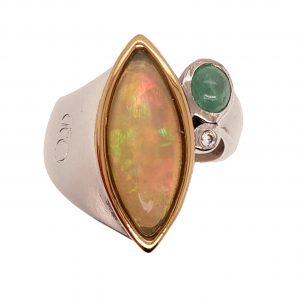 Opal and Cat's Eye Emerald Ring