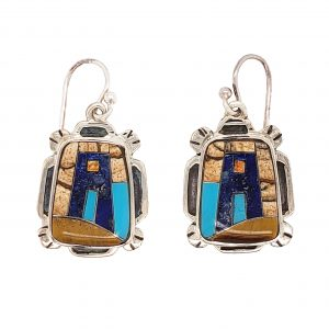 Turquoise, Lapis, and Chalcedony Earrings