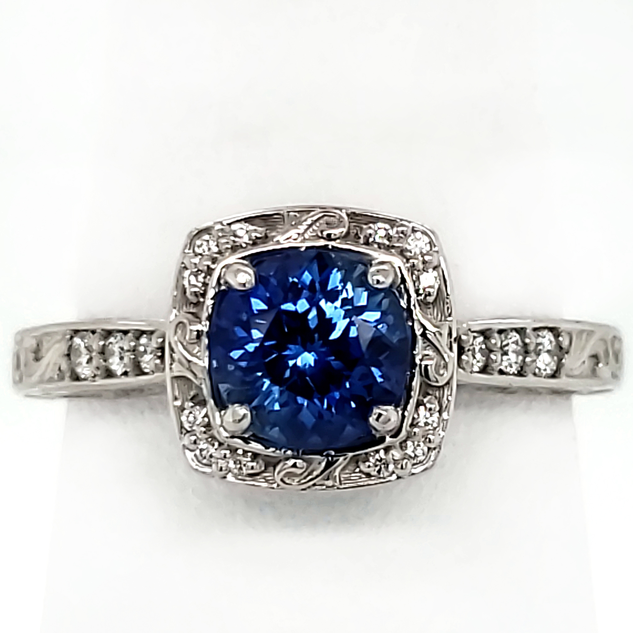1.05 ct. Blue Sapphire and Platinum Ring
