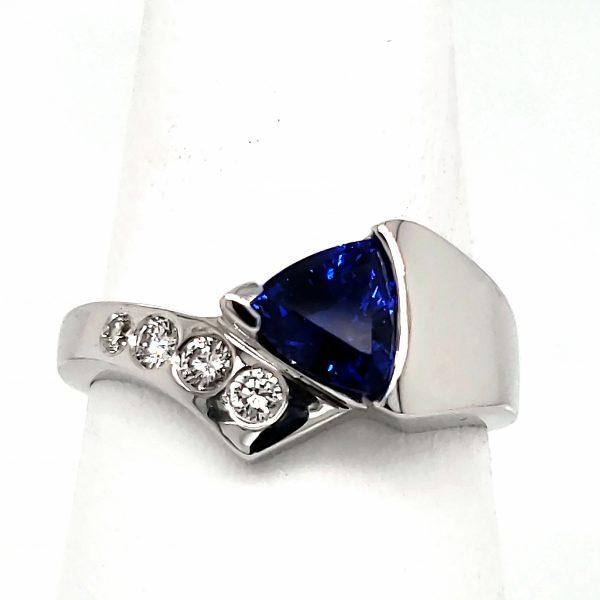 1.28 ct. Sapphire Trillion Ring