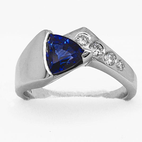 1.28 ct. Trillion Sapphire Ring