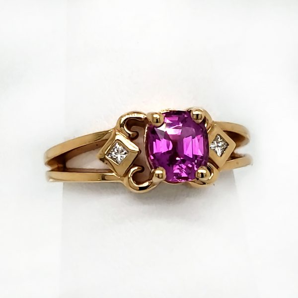 1.31 ct. Hot Pink Sapphire and Diamond 14k Ring