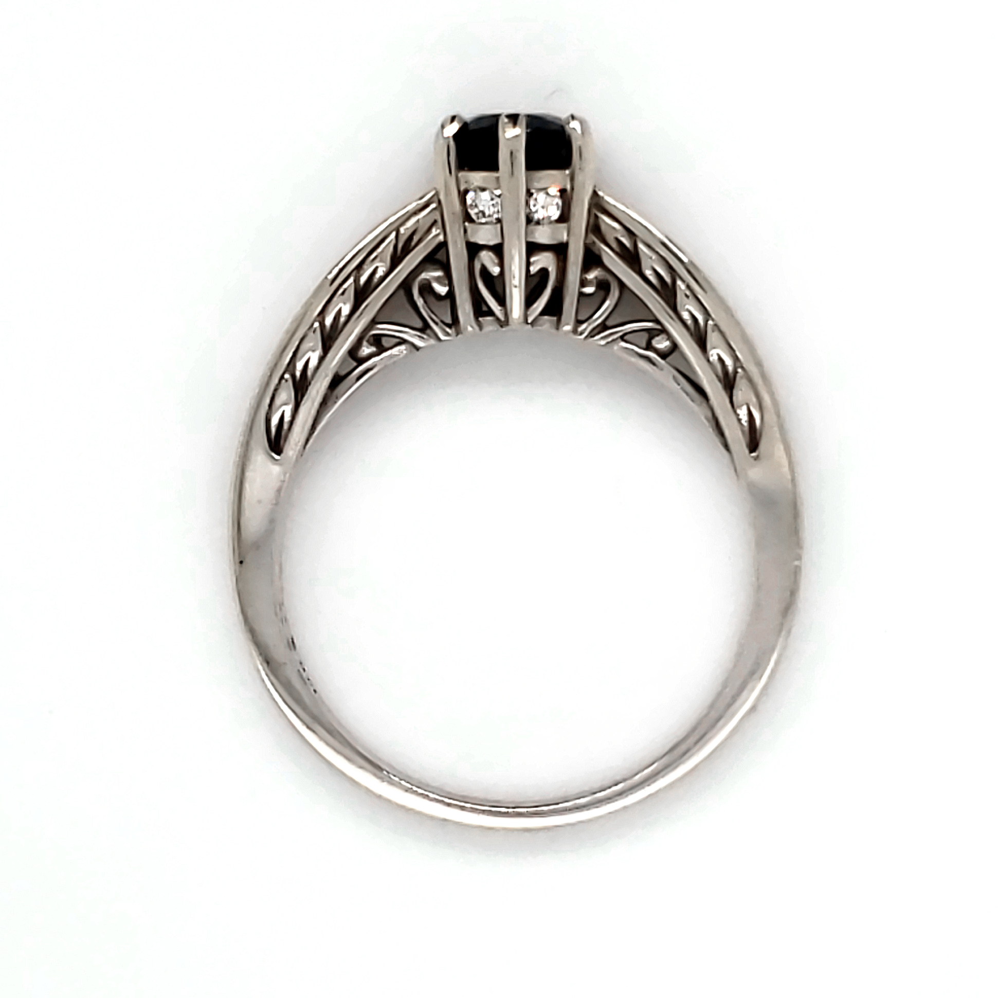 .64 ct. Blue Sapphire and Diamond 14k wg Ring