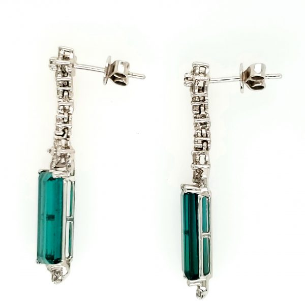 18k wg Tourmaline and Diamond Earrings