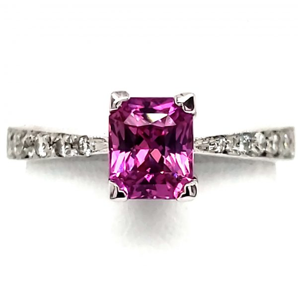 1.02 ct. Hot Pink Sapphire and Diamond 14k white gold ring
