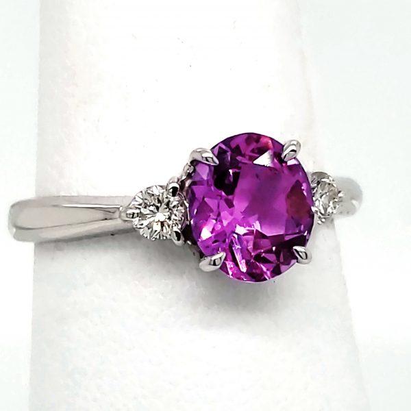 1.31 ct. Purple Sapphire and Diamond 18k white gold ring