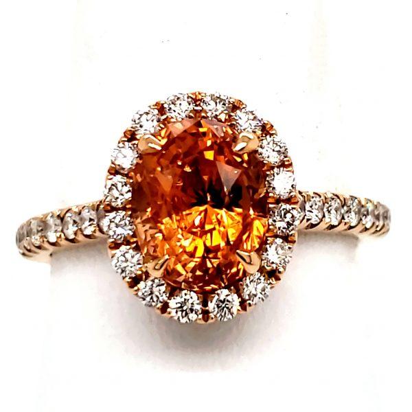 2.86 ct. Orange Sapphire and Diamond 18k Rose Gold Ring