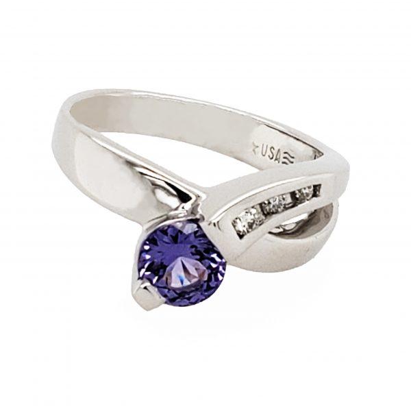 .88 ct. Purple Sapphire and Diamond 14k white gold ring