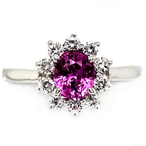 .96 ct. Magenta Sapphire and Diamond 14k white gold ring front