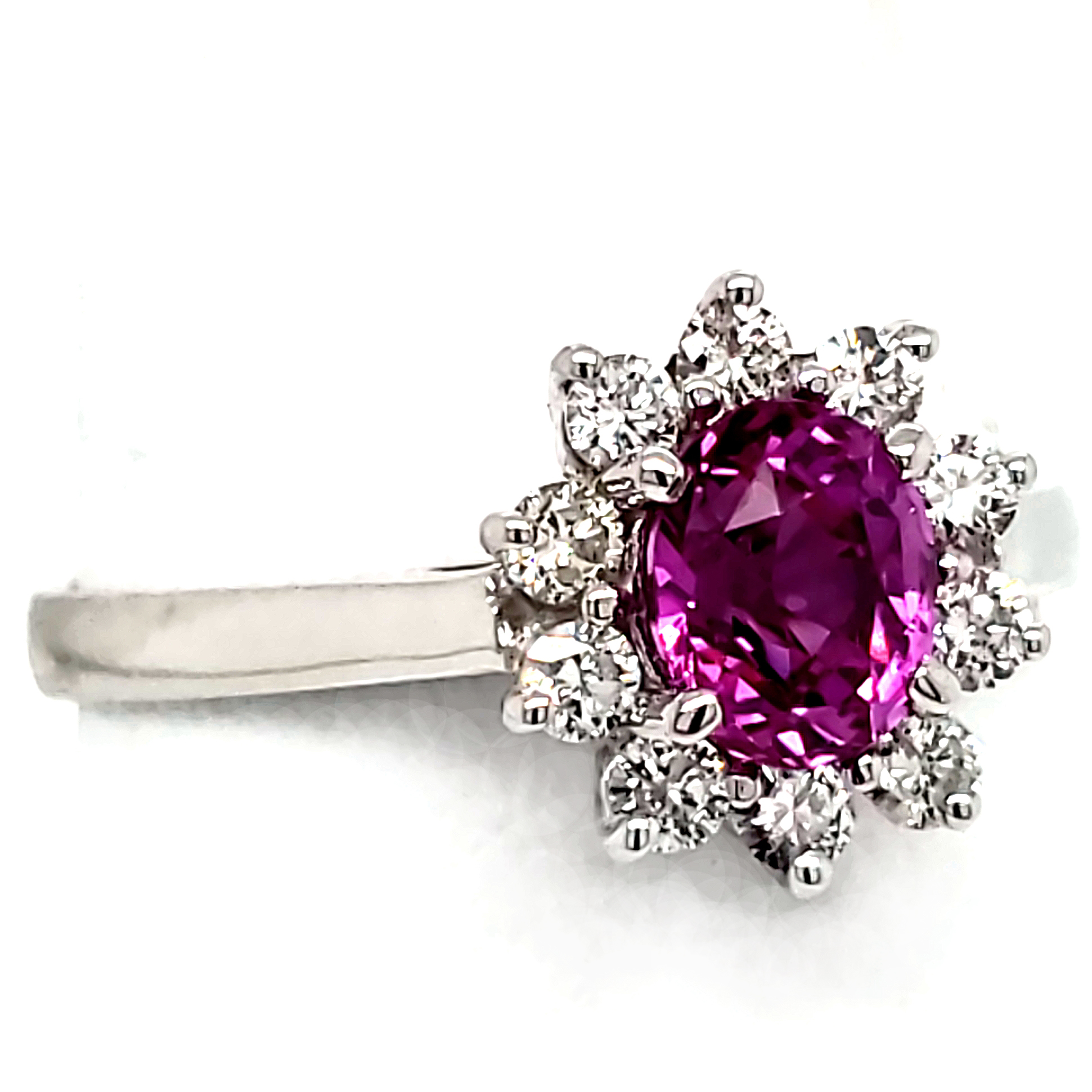 .96 ct. Magenta Sapphire and Diamond 14k white gold ring left side