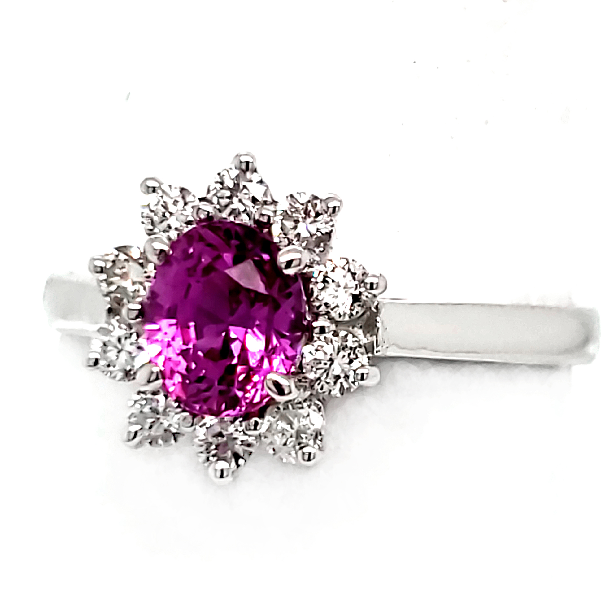 .96 ct. Magenta Sapphire and Diamond 14k white gold ring right side