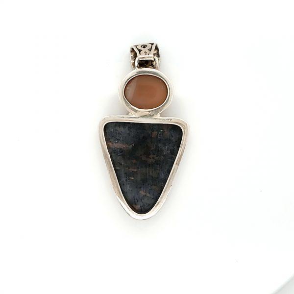Sterling Nuummite and Moonstone Pendant