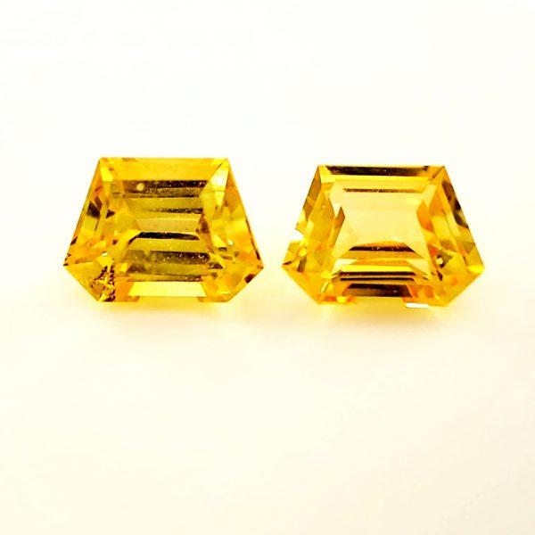 1.68 ct. Yellow Sapphire Trapezoid Pair