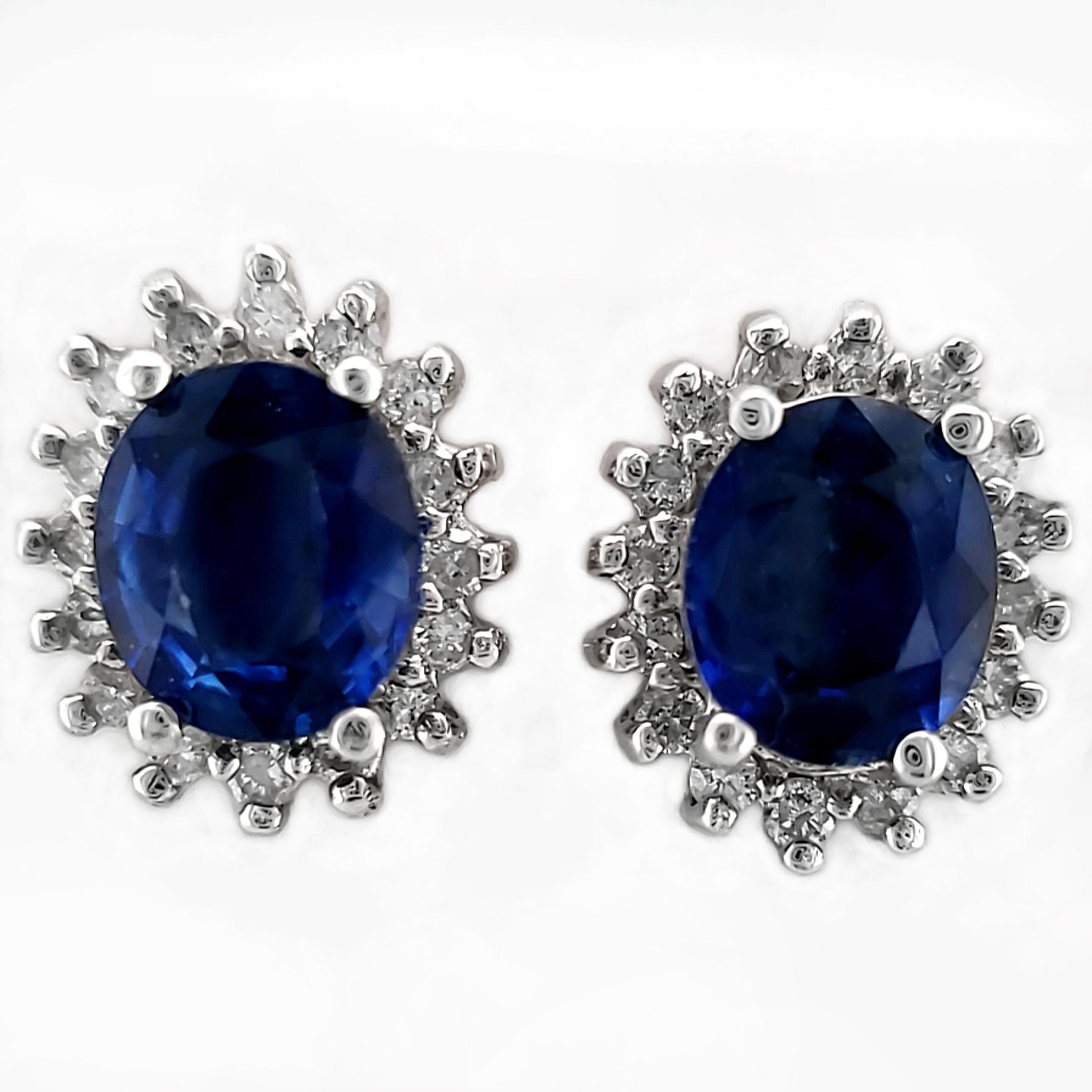 1.56 tcw. Blue Sapphire and Diamond Earrings