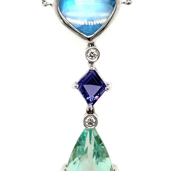Denny Wong Green Beryl, Moonstone, Tanzanite, Aquamarine, and DIamond Necklace