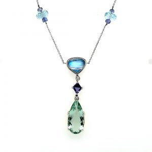 Denny Wong Green Beryl, Moonstone, Tanzanite, Aquamarine, and DIamond Necklace