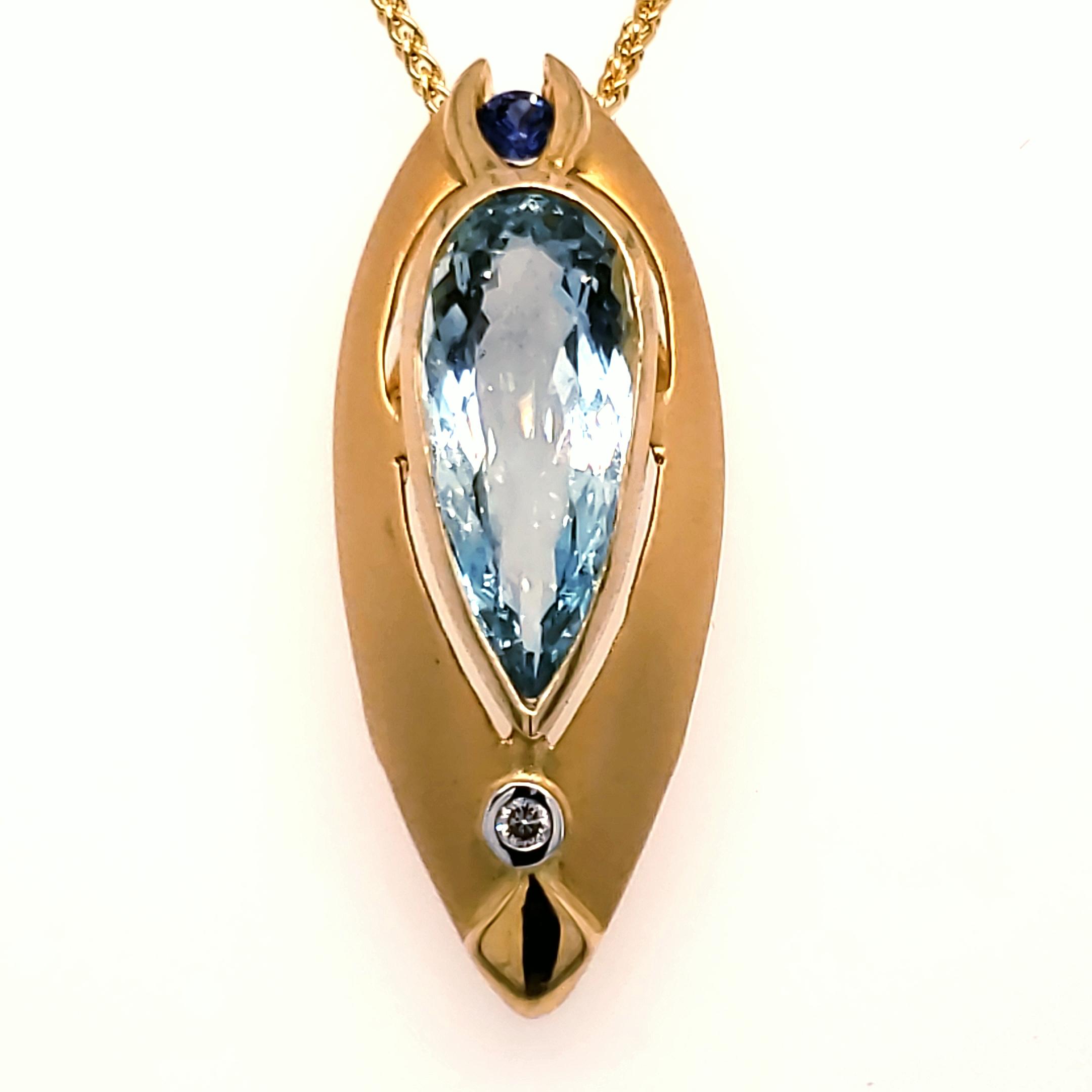 Aquamarine and Blue Sapphire Pendant