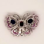 Ruby, Sapphire, and Diamond Butterfly Pendant