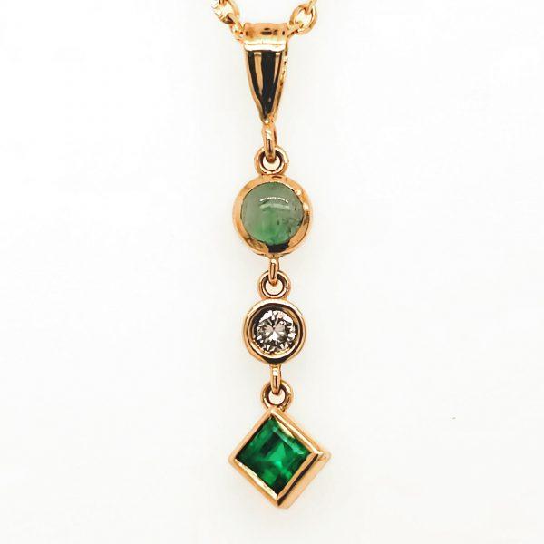 Emerald, Cat's Eye Emerald, and Diamond Pendant
