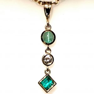 Emerald, Cat's Eye Emerald, and Diamond Pendant