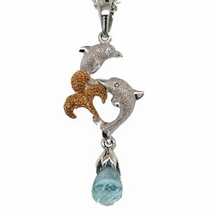 Denny Wong Dolphin and Apatite Briolette Pearl Pendant