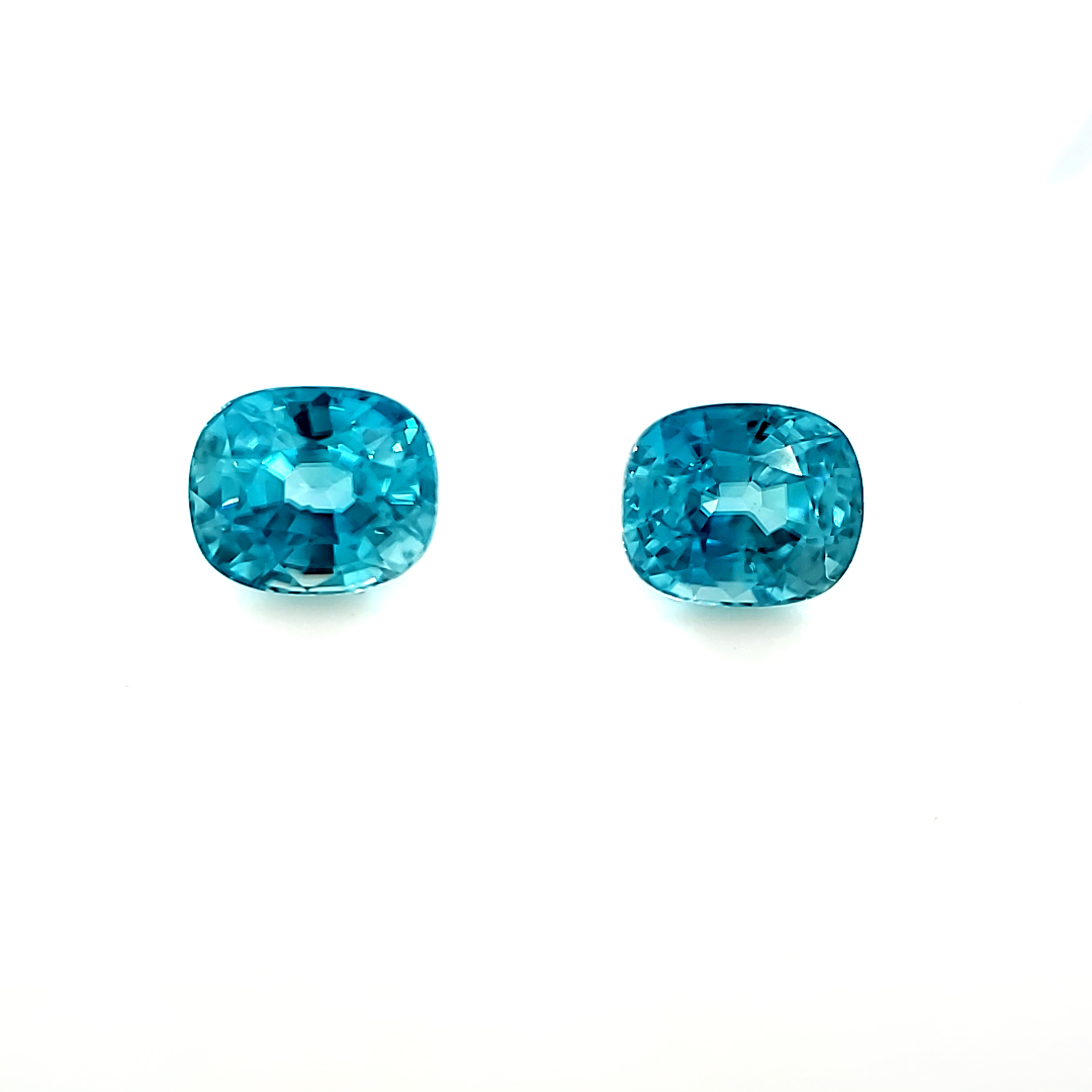 2.9 tcw. Blue Zircon Pair