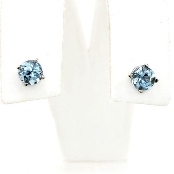 1 ct. Aquamarine 14k wg Stud Earrings