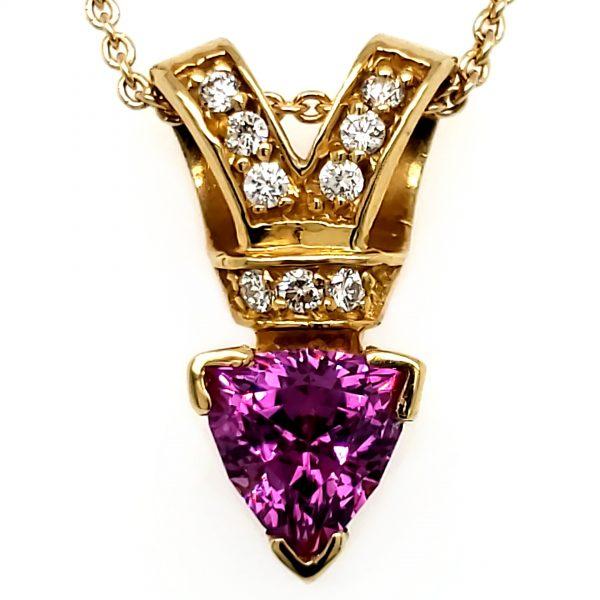 1.5 ct. Rhodolite Garnet and Diamond 18k Pendant