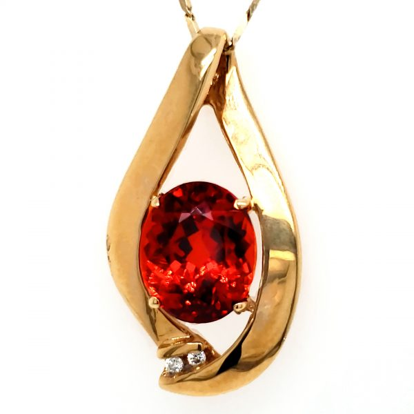 6.8 ct. Spessartite and Diamond 18k Pendant