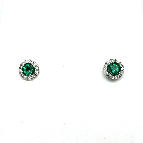 .60 cts. Emerald and Diamond Earrings