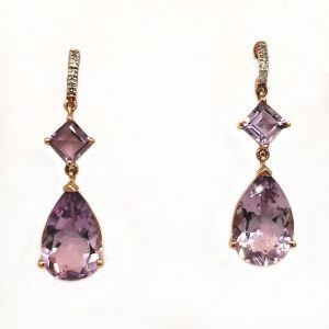 Amethyst and Diamond Rose Gold Earrings