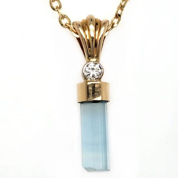 Aquamarine Crystal and Diamond 14k Pendant