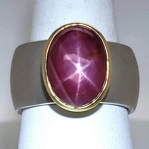 Star Ruby Sterling and 18k RIng