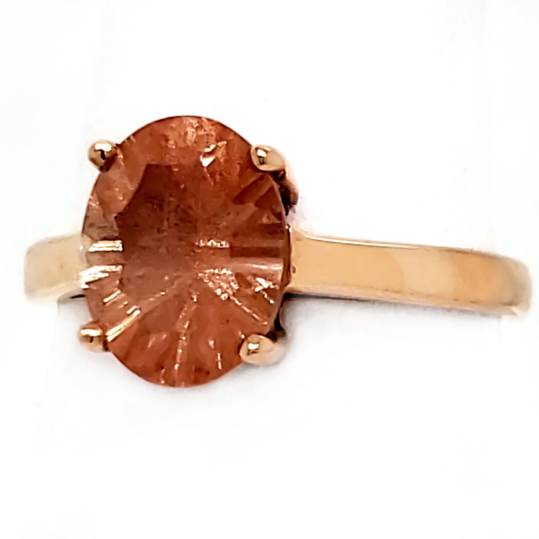 1.51 ct. Oregon Sunstone 14k Rose Gold RIng