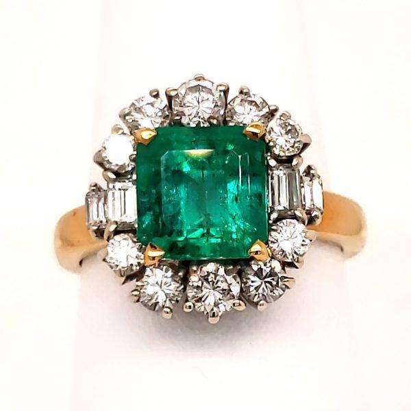 2.35 carat Emerald and Diamond 18k Ring