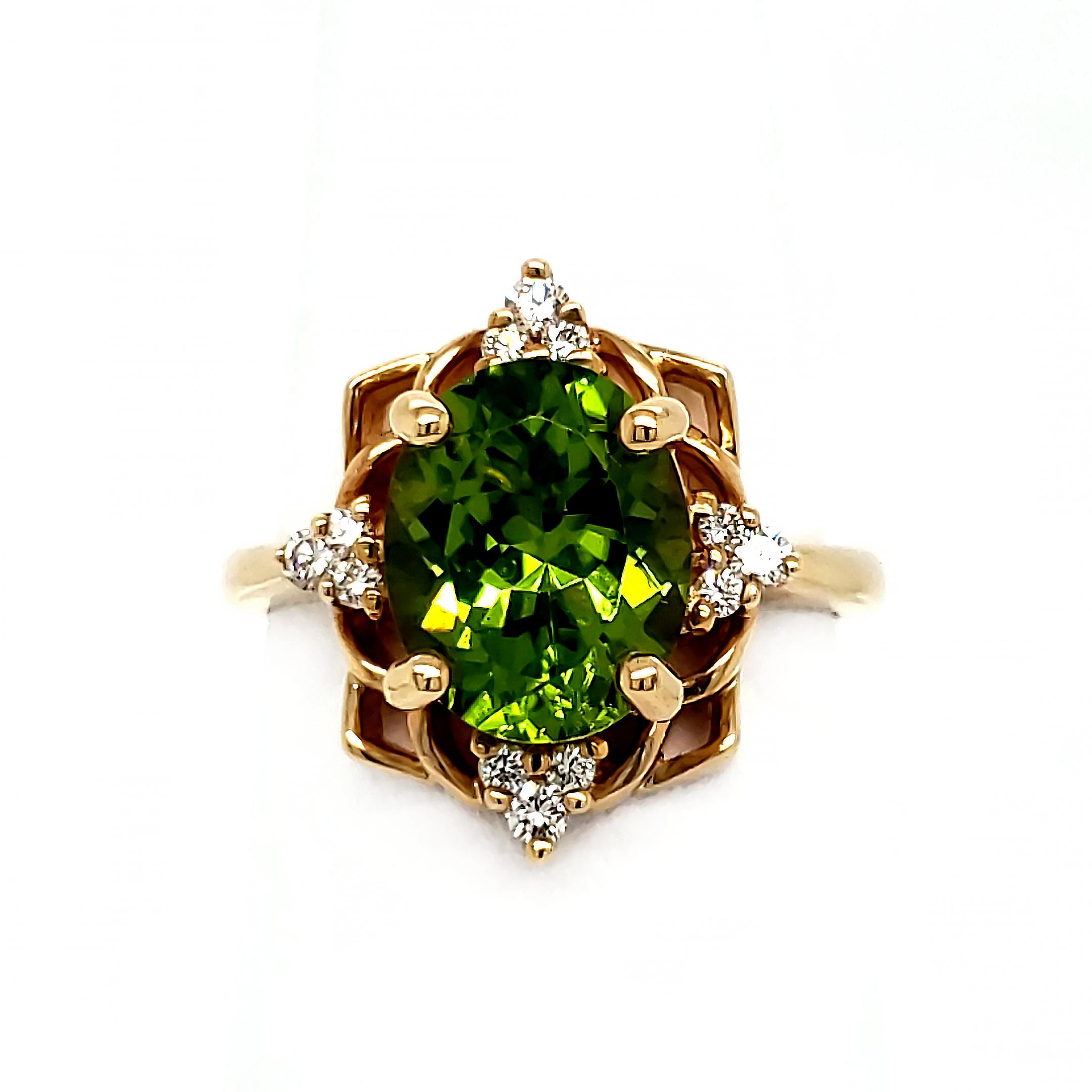 3.15 ct. Arizona Peridot and Diamond 14k Ring