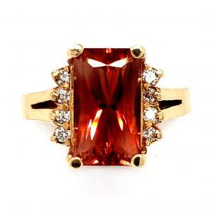 3.5 ct. Oregon Sunstone and Diamond Custom 14k Ring