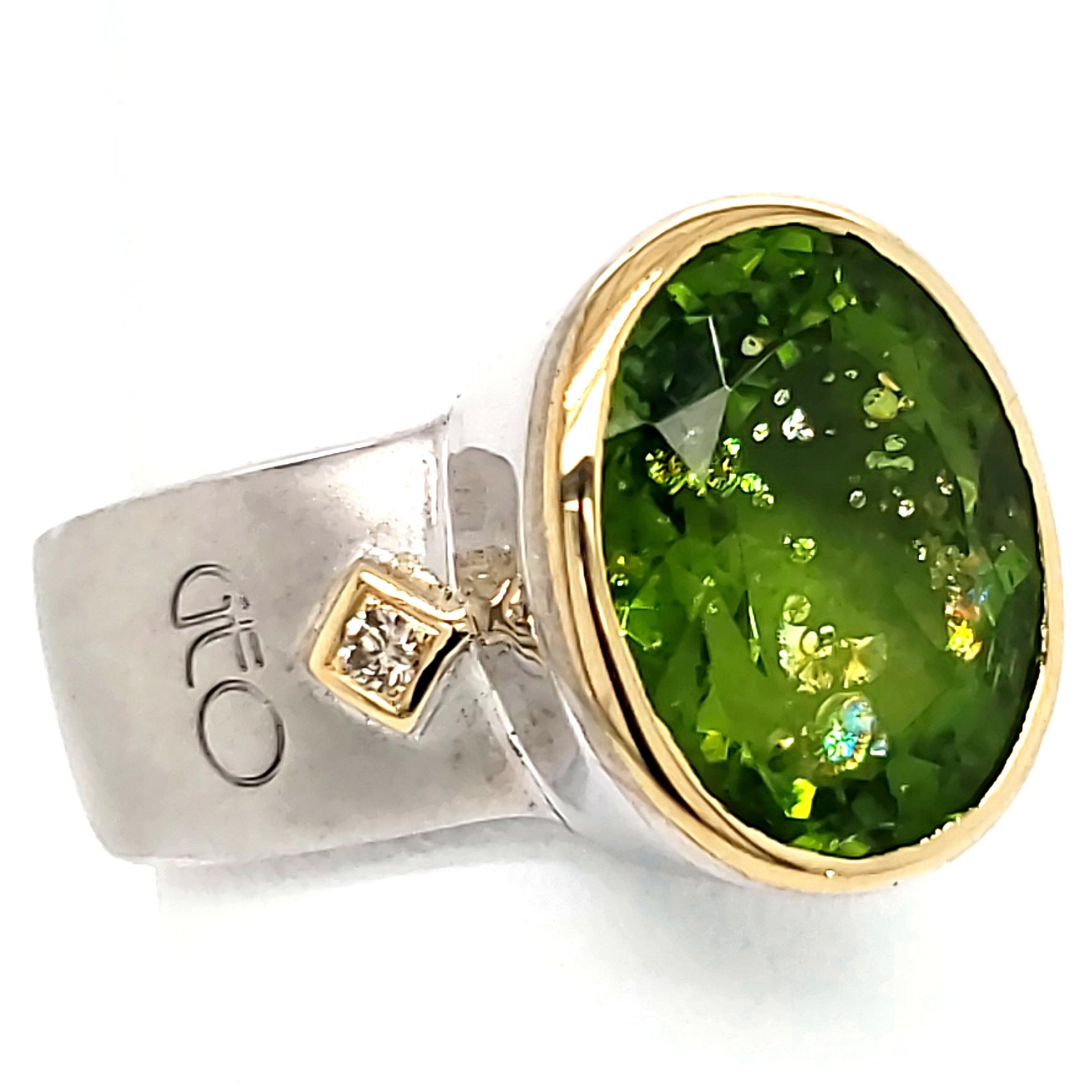 Custom Peridot Sterling and 18k Ring