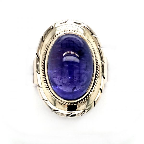 Embellished Sterling Tanzanite Cabochon Ring