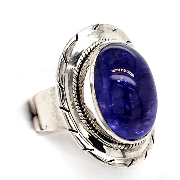 Embellished Sterling Tanzanite Cabochon Ring Side View